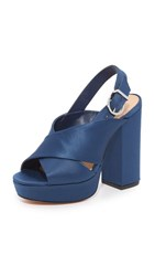 Schutz Millie Peep Toe Heels Dress Blue