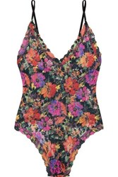 Hanky Panky Summer Nights Floral Print Stretch Lace Thong Bodysuit Pink