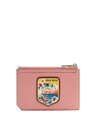 Miu Miu Badge Applique Leather Cardholder Pink