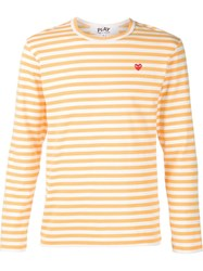 Comme Des Gara Ons Play Striped T Shirt Yellow And Orange