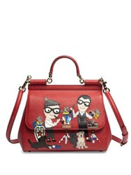 Dolce And Gabbana Medium Miss Sicily Family Leather Satchel Red