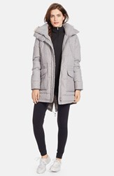 Lauren Ralph Lauren Women's Faux Fur Trim Tweed Print Anorak With Down And Feather Fill New Grey White