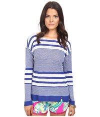 Lilly Pulitzer Camilla Sweater Bomber Blue Exotic Garden Stripe Women's Sweater Purple