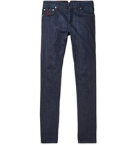 Isaia Slim Fit Selvedge Stretch Denim Jeans Dark Denim