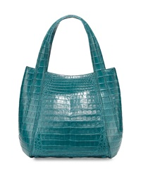 Nancy Gonzalez Small Rounded Crocodile Tote Bag Green