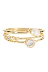 Adam Marc 14K Gold Vermeil Freshwater Pearl And Cz Stack Ring Set White