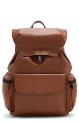 Vince Camuto Men's Travo Leather Backpack Brown Luggage