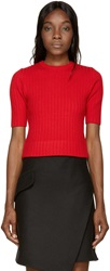 Carven Red Ribbed Knit Cropped Sweater