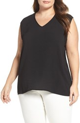 Vince Camuto Plus Size Women's Mixed Media Tank Rich Black