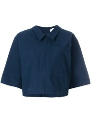 Thom Browne Button Back Polo Shirt In Salt Shrink Cotton Blue