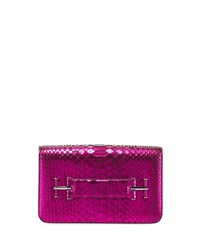 Tom Ford Tara Laminated Python Clutch Bag Bright Pink