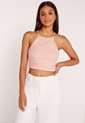 Missguided Sheer Stripe High Neck Crop Top Nude Beige