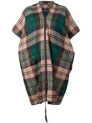 Vivienne Westwood Anglomania Check Oversized Cape Green