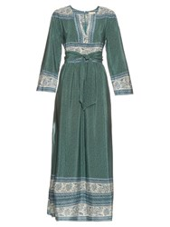 Sea Border Print Silk Long Sleeved Belt Dress Green Multi
