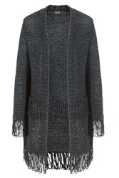 Steffen Schraut Metallic Fringed Cardigan Grey