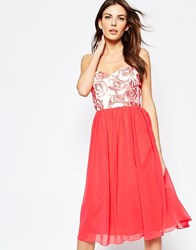 Little Mistress Prom Dress With Floral Top Coral Cream Pink
