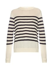 Raey Breton Stripe Fine Knit Cashmere Sweater Navy Stripe
