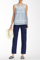 Johnny Was Embroidered Linen Soft Pant Blue