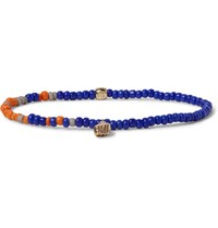 Luis Morais Glass Bead Gold Bracelet Royal Blue