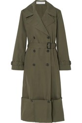 J.W.Anderson Jw Anderson Button Detailed Cotton Twill Trench Coat Green