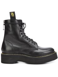 R 13 R13 Chunky Sole Lace Up Boots Black