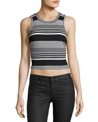 19 Cooper Striped Sleeveless Crop Top Black White