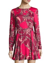 Minkpink Femme Fatale Fit And Flare Dress Red Pattern