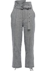 Marissa Webb Woman Belted Prince Of Wales Checked Linen And Cotton Blend Straight Leg Pants Black