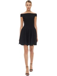 Alexander Mcqueen Off Shoulder Flared Viscose Knit Dress Black