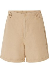 The Great Explorer Linen And Cotton Blend Shorts Sand