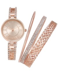 Charter Club Women's Bracelet Watch 30Mm And Bangle Bracelet Set Only At Macy's Rose Gold
