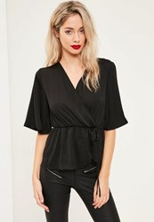 Missguided Black Satin Elastic Waist Tie Front Blouse