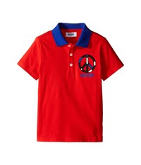 Moschino Kids Short Sleeve Polo W Peace Sign Graphic Little Kids Big Kids Red Men's Short Sleeve Pullover