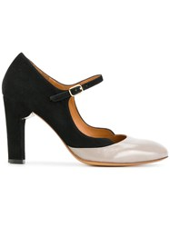 Chie Mihara Julian Stone Pumps Calf Leather Calf Suede Leather Rubber Black