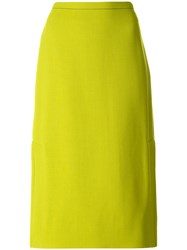 Marni Classic A Line Skirt Silk Virgin Wool Green