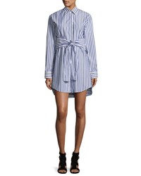 Alexander Wang Long Sleeve Tie Front Collared Dress White Blue White Blue