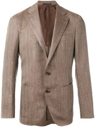 Caruso Classic Blazer Men Silk Cupro Wool Inox 48 Brown