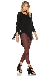 One Teaspoon Silver Sovereign Fringe Sweater Black