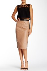 Stella And Jamie Erebus Long Leather Skirt Beige