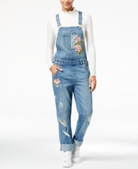 American Rag Juniors' Ripped Embroidered Denim Overalls Created For Macy's Blue