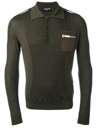 Dsquared2 Long Sleeved Polo Shirt Green