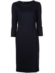 Les Copains Fitted Mid Length Dress Blue
