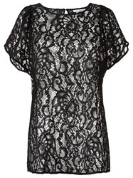 Martha Medeiros Sheer Lace Blouse Black