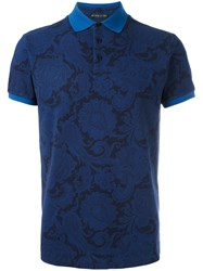 Etro Arabesque Print Polo Shirt Blue
