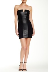David Lerner Vegan Leather Strapless Dress Black