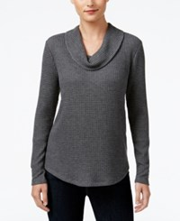 Styleandco. Style Co. Waffle Knit Cowl Neck Top Only At Macy's Steel Heather Grey