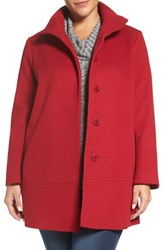 Fleurette Plus Size Women's Loro Piana Wool Car Coat Red