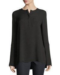Lafayette 148 New York Shellie Pleated Cuff Blouse Black