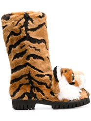 Dolce And Gabbana Tiger Surface Boots Neutrals