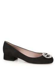 Gucci Gg Crystal Suede Round Toe Pumps Black